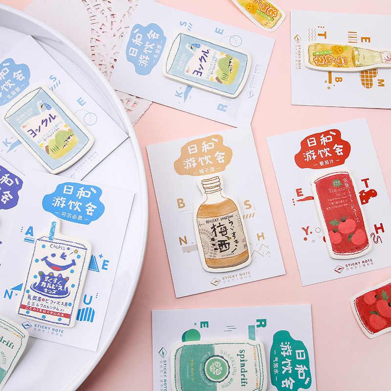 30pcs น่ารักโพสต์มันหมายเหตุ Kawaii Memo Pad เครื่องดื่ม Shop ชุด N ครั้งโพสต์นักเรียนข้อความหมายเหตุ Pad เครื่องเขียนโรงเรียน