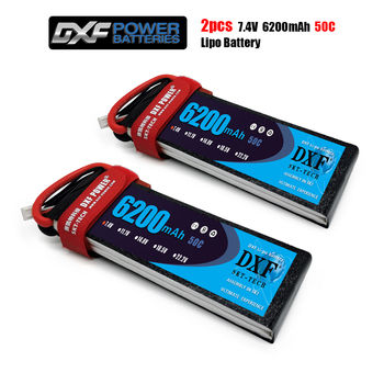 DXF Lipo Battery 7.4V 6200MAH 50C 2S MAX100C T/XT60 LiPo RC Battery For Rc Helicopter Car Boat drone truck quadcopter Traxx image