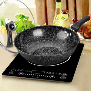 Image 4 - Pan Maifan Stone Wok Non stick Pan No smoke Induction Cooker Gas Stove 32CM34CM Stir fry Iron Pot Cooking Pot Kitchen Pots