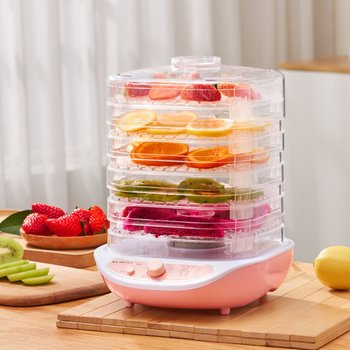 Food Dehydrator Fruit Vegetable Herb Meat Drying Machine Pet Snacks Food Dryer With 5 Trays 220V Pink White cukyi 6 trays food dehydrator snacks dehydration dryer fruit vegetable herb meat drying machine stainless steel 110v 220v eu us