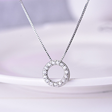 KOFSAC Korean 925 Sterling Silver Necklace Girl Shiny Simple Full Zircon Geometric Circle For Women Fashion Jewelry Hot
