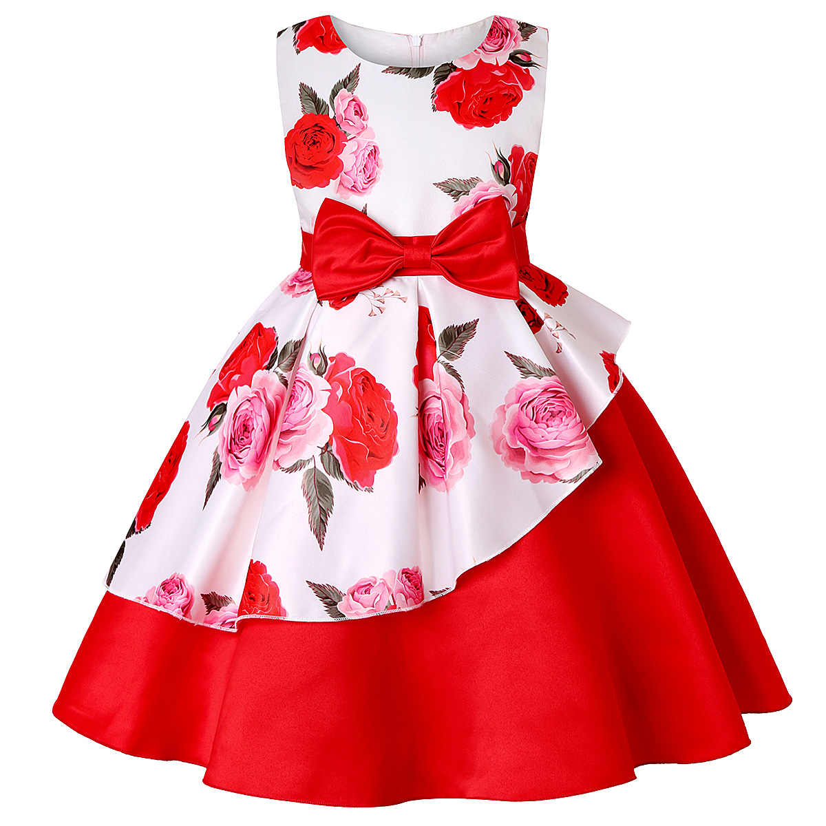 Baby Kids Flower Pretty Birthday Dresses Children Clothing Toddler Wedding  Princess Dress Eveving Party Costume Clothes With Bow