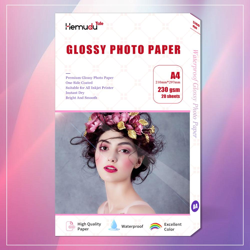 A4 Gloosy Photo Paper Waterproof  Single Side For Inkjet Printer Photo Album 20 Sheets