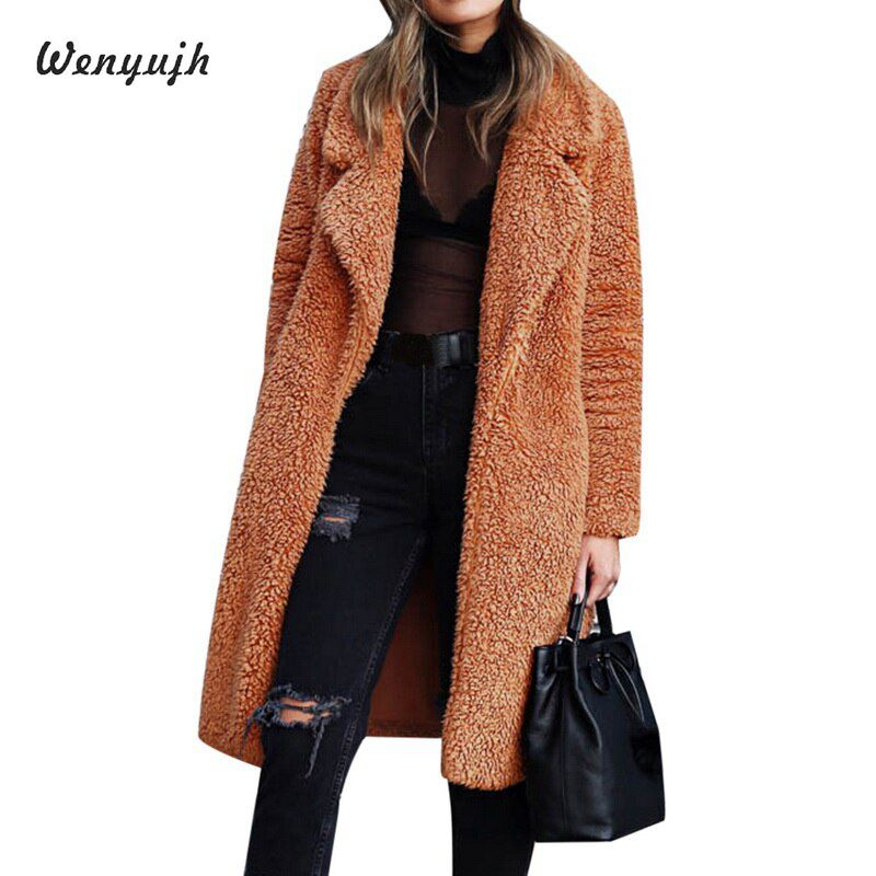 WENYUJH 2019 Autumn Winter Fashion Women Faux Fur Long Outwear Coat Warm Plush Teddy Coat Casual Streetwear Ladies Jacket