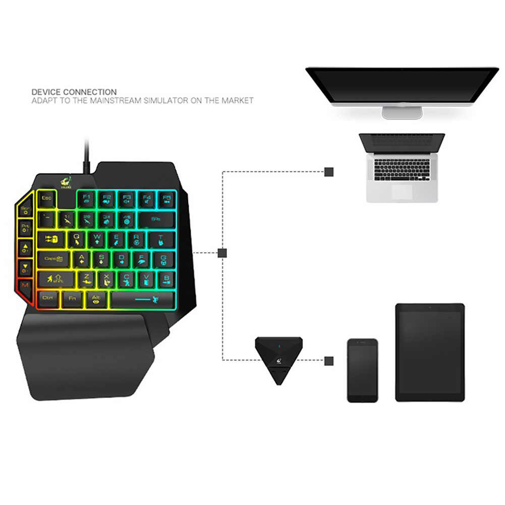 PUBG LED バックライト人間工学キーパッドゲーミングノート Pc 39 キー USB ホーム有線携帯電話片手 KeyboardFor Android ios