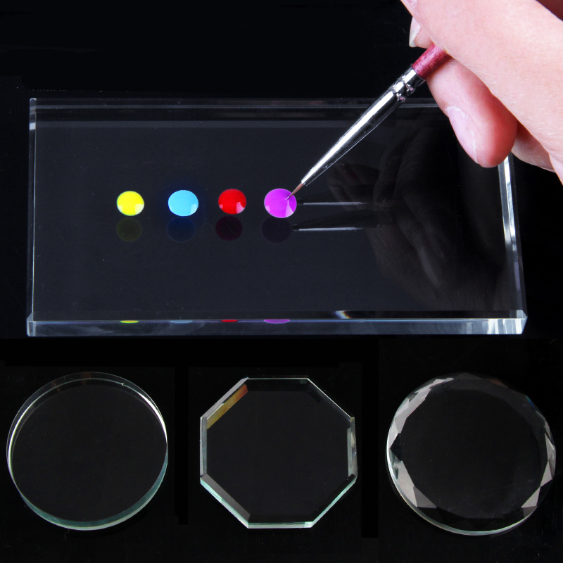 1Pc Mirror Nail Palette Glass False Palette Glass Manicure Exercise Tool Paint Your Nails Nail Art Manicure Tools
