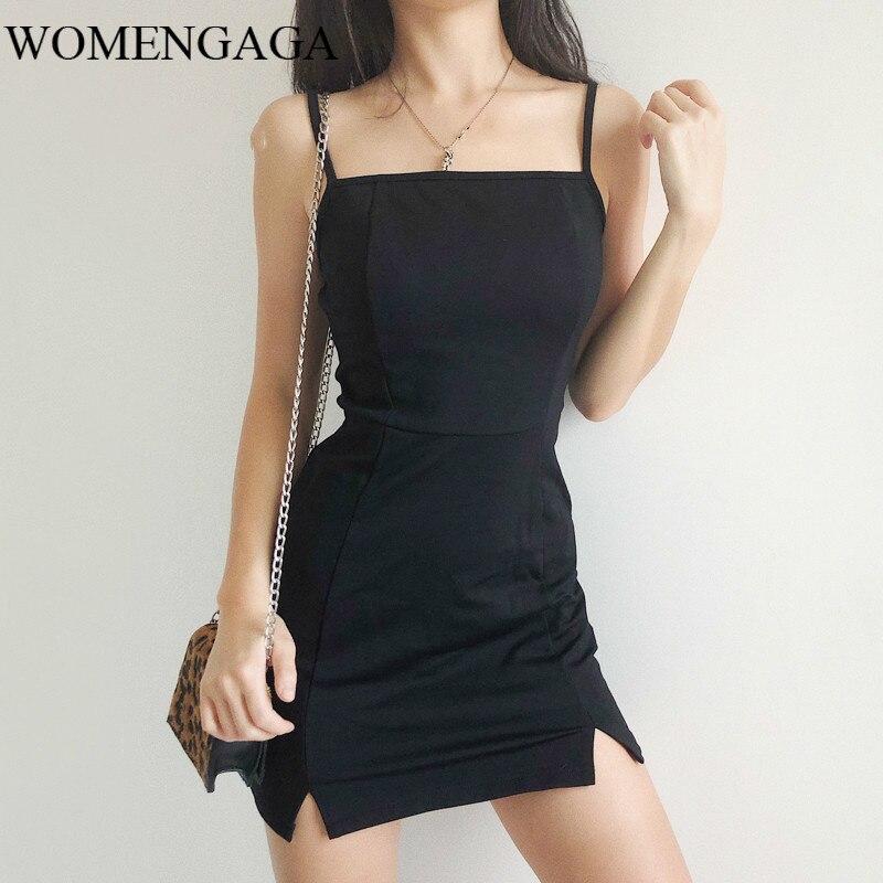 2020 sommer Neue Mode Sexy Mädchen Weibliche Frauen Bodycon Mini Camis Kleid Schwarz Bifurkation Kleider LZIW
