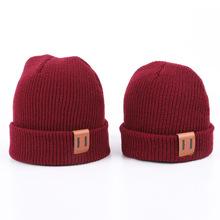 Adult and Children Beanie Wool Hat Autumn Winter Hats Leather Label Pure Color Warm Baby Knitted Caps Parent-child Style