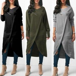 Image 2 - ZANZEA 2020 Asymmetrical Hoodies Dress Womens Sweatshirts Autumn Casual Long Sleeve Pullovers Zipper Midi Vestidos Plus Size
