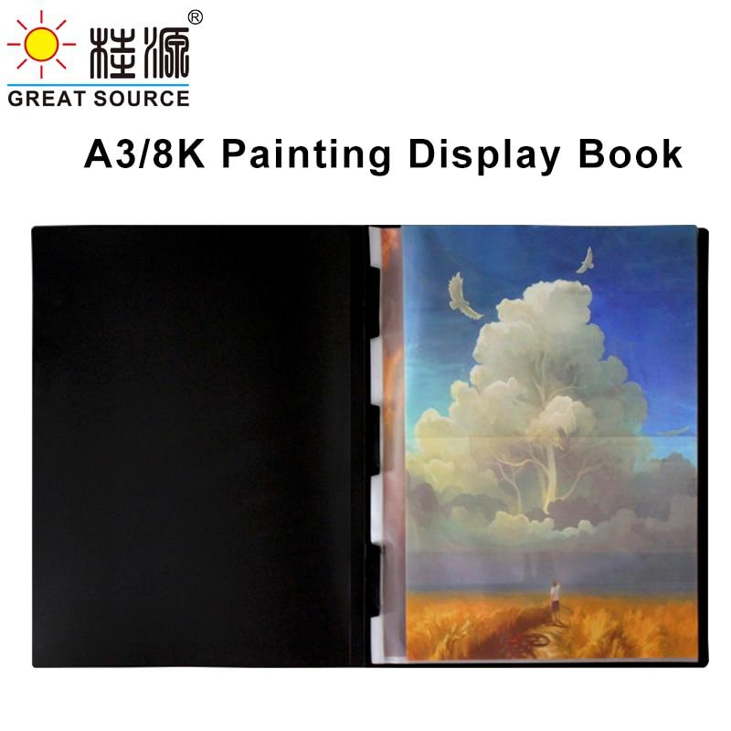 8K Display Book Drawing Presentation Book 10 Transparent Pockets Folder 335*425mm(13.19