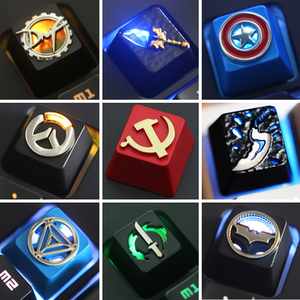 1pc Zinc Aluminium Alloy Key Cap Mechanical Keyboard keycap for DNF Dota 2 OW Captain America R4 Height Stereoscopic relief(China)