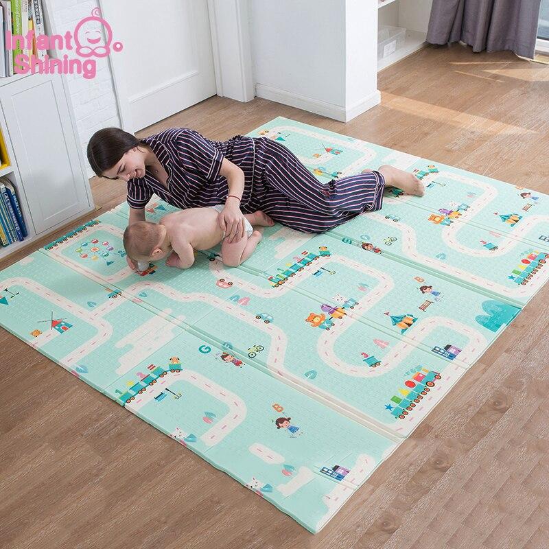 Infantile brillant 180X200CM XPE tapis de jeu 1CM épaisseur dessin animé bébé tapis de jeu pliable anti-dérapant tapis enfants tapis de jeu B