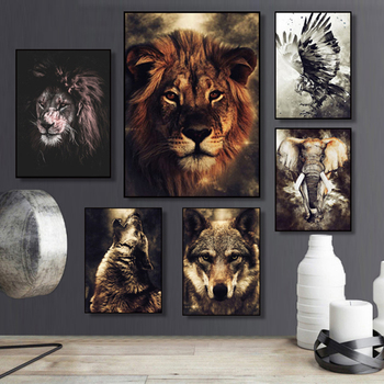 Watercolor Wolf Lion Eagle Elephant Wall Art Nordic Posters and Prints Canvas Painting Wall Pictures for Living Room Home Decor lion zebra elephant cow nordic animal posters and prints wall art canvas painting decorative pictures for living room home decor