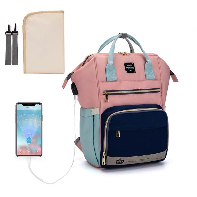 LEQUEEN Diaper Bag + Changing Pad + Straps Maternity Bag Baby Care Travel Waterproof Antifouling Backpack Stroller Bag Nappy Bag