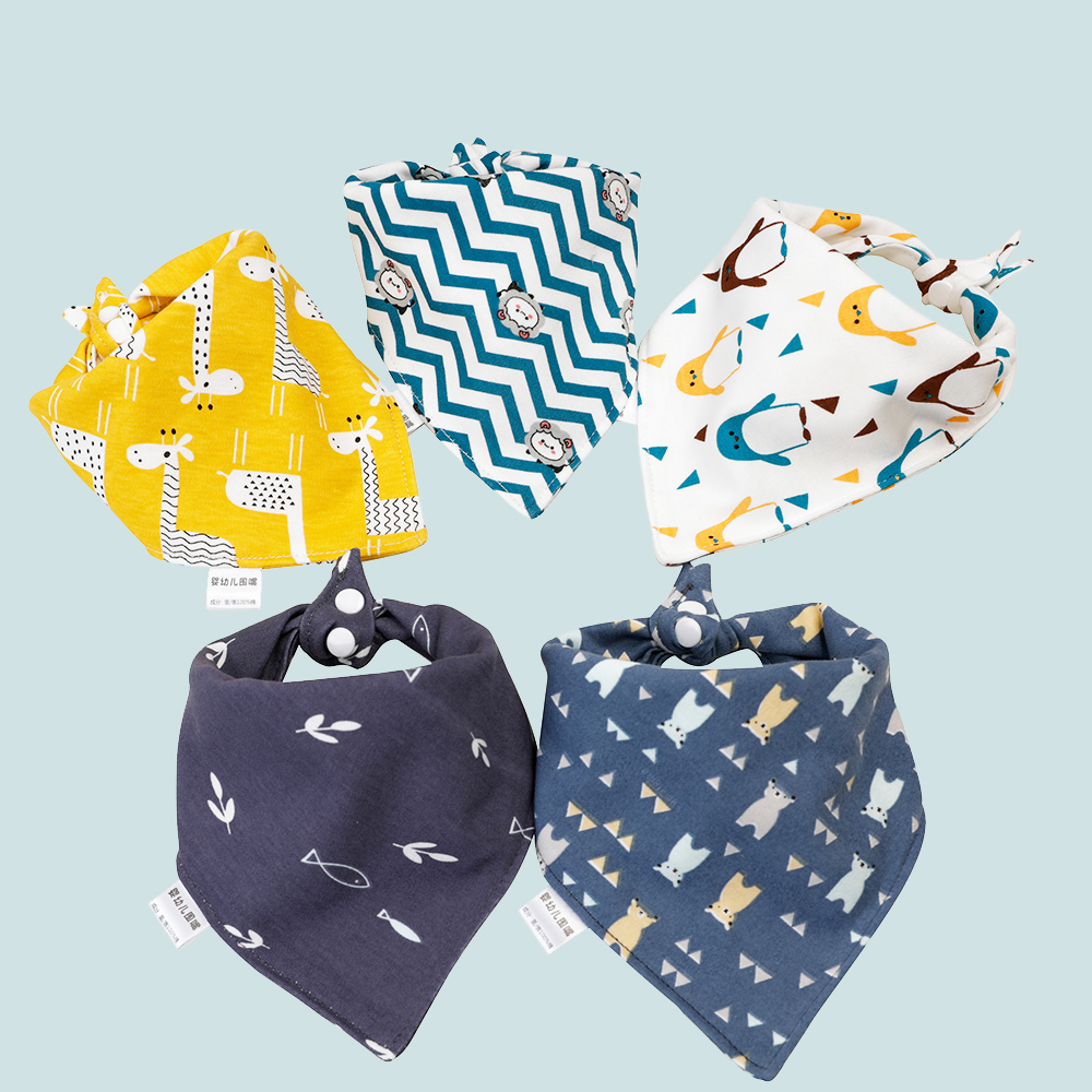 Baby Bib Soft Cotton Baby Drool Bibs Cute Triangle Scarf Comfortable Drooling and Teething <font><b>5</b></font> Pcs Towel Saliva Towel for Newborn image