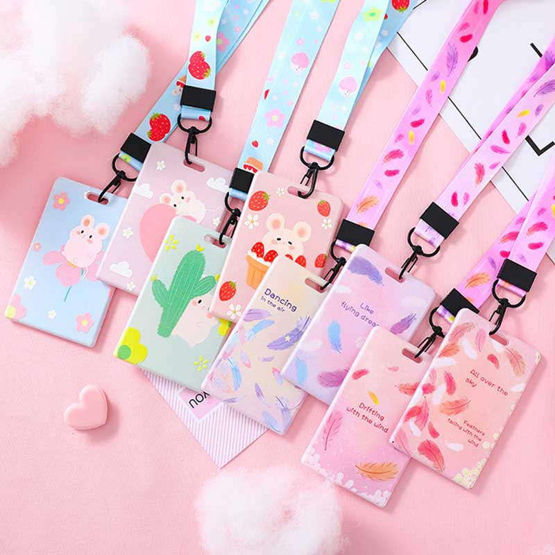 New Cute Rubbit & Beautiful Feather Lanyard Credit Card ID Holder Bag Student Women Travel Bank Bus Business Card Cover Badge