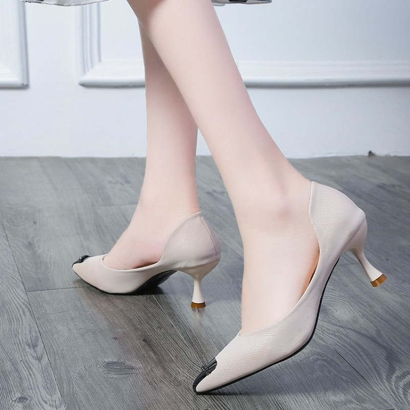 2020 Woman Concise Office Shoes Fashion Pointed Toe Women Pumps  Shallow High Heels Women's Party Shoes solid Colors Y22-23