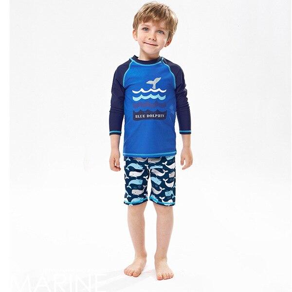 CHILDREN'S Swimwear Long Sleeve Sun-resistant BOY'S Baby Split Type Boxers Surf Wear Big Boy Hot Springs Swimwear