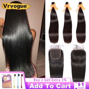 Vrvogue Hair Peruvian Straight Hair Bundles With Closure Remy Human Hair 3 Bundles With Lace Closure Middle/Three/Free Part 4x4
