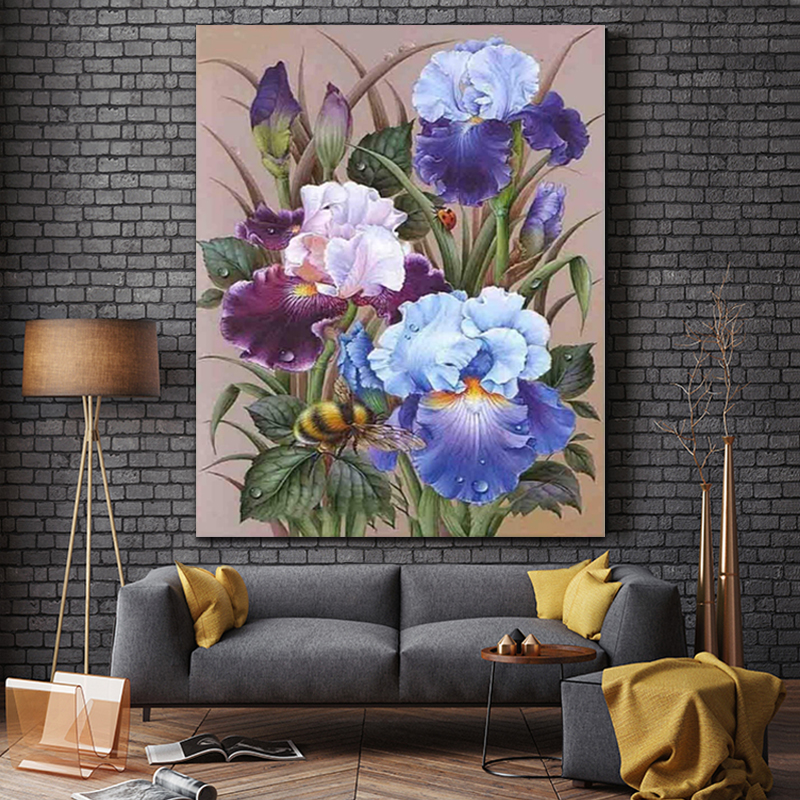 DIY Colorings Pictures By Numbers With Flowers Picture Drawing Relief Painting By Numbers Framed Home