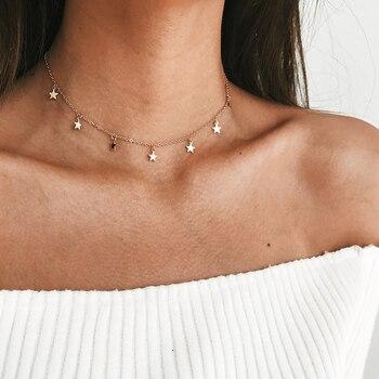 Женские вечерние ожерелья с пятиугольной звездой, колье чокер золотистого цвета, ювелирные изделия для подарка Ожерелья с подвеской      АлиЭкспресс