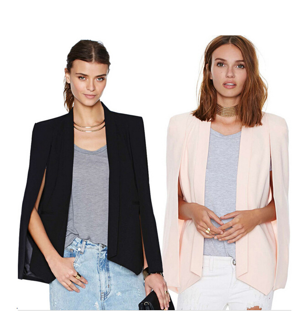 Casual Solid Blazer Woman Women Jacket Notched Evening Party Black Cape Blazer Jacket Cage