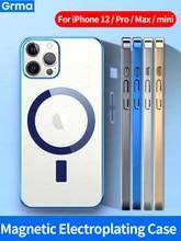 Grma ماج المغناطيسي آمنة شفافة واضحة الكهربائي إطار سيليكون قضية الهاتف آيفون 12 Mini 12 برو ماكس الجلود كم