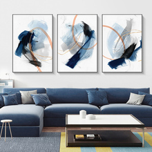 Abstract Hazy Blue Brush Canvas Painting Nodic Print Modern Style Wall Art Decor Picture For Poster Aesthetic Room Decorative