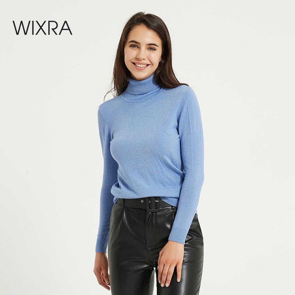 Wixra женский свитер, пуловеры, Мягкая Блестящая водолазка, однотонный, Осень-зима, Женский вязаный свитер с длинными рукавами, джемперы