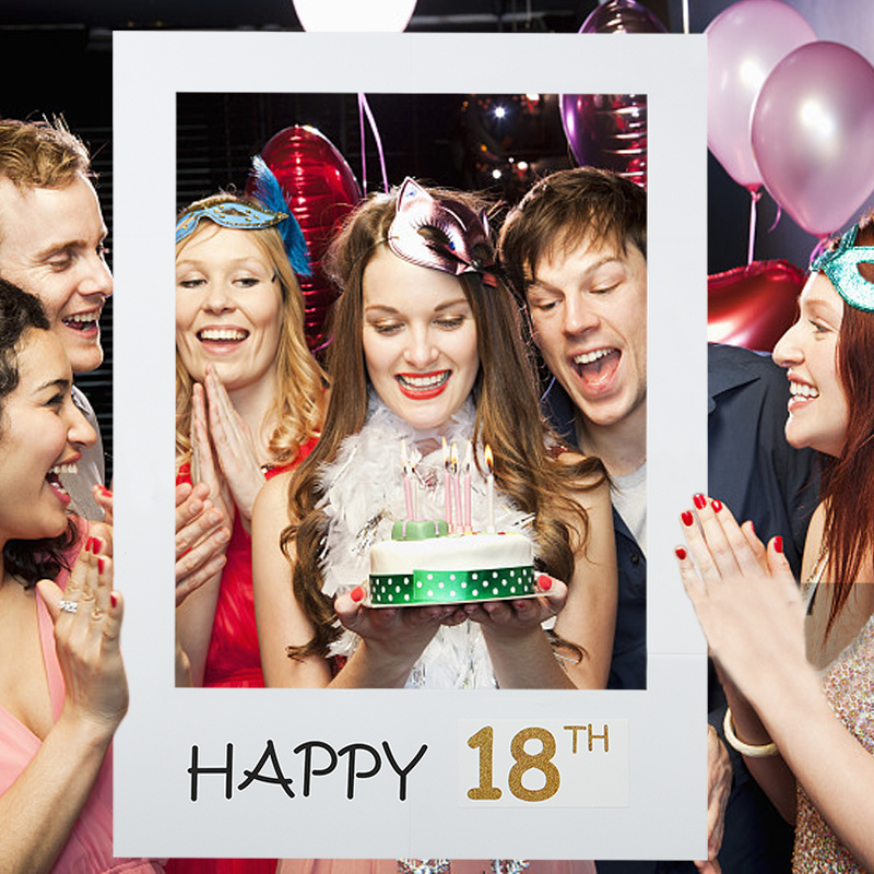 Happy 1/16/18/30/35/40/50/60th Paper Photo Booth Props Photo Frame Anniversary 30 Years Birthday Decorations Party Gift Supplies