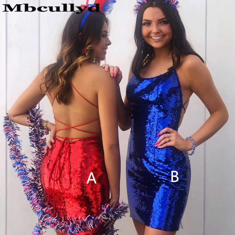 Mbcullyd Mermaid Short Mini   Prom     Dresses   2019 Cross Backless Sequined Graduation Party Gowns Cheap Royal Blue Vestidos de fiesta