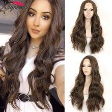 Kahverengi uzun dalgalı peruk kadınlar için sentetik dantel ön peruk kadın Cosplay peruk 13x3 dantel peruk orta kısmı isıya dayanıklı iplik saç