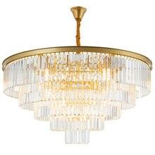 Jmmxiuz מודרני עגול זהב נברשת קריסטל תאורת מסעדה אמריקאי קריסטל מנורת נברשת