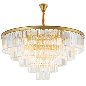 Image 1 - Jmmxiuz Современная круглая Золотая люстра, хрустальное освещение для ресторана, американская Хрустальная люстра