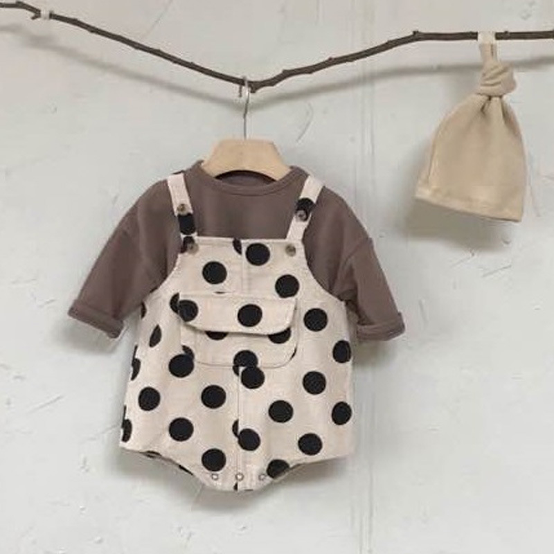MILANCEL Baby Clothing Polka Dot Infant Girls Bodysuits Sleeveless Big Pocket Toddler Boys Outfit