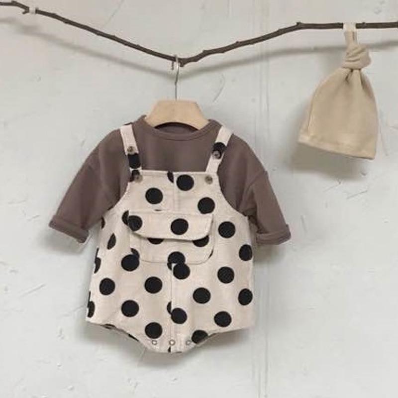 MILANCEL Baby Clothing Polka Dot Infant Girls Bodysuits Sleeveless Big Pocket Toddler Boys Outfit