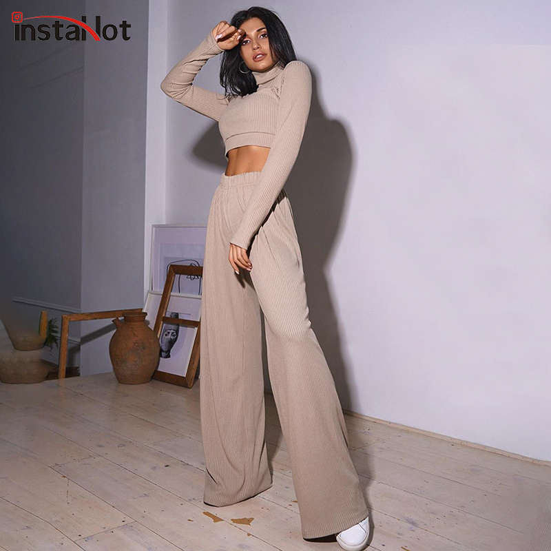 InstaHot-Pantalón de pierna ancha y top corto, conjunto de dos piezas, manga larga, Otoño, liso, cuello alto, elegante, minimalista, clásico