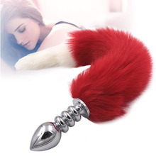 Metal Fox Tail Dildos Anal Beads Anal Toys Butt Plug Stainless Steel Buttplug Anal Plug Anus Beads Sex Products Adult Game