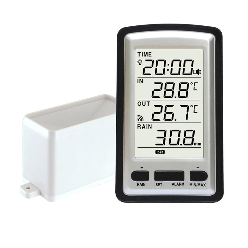 Wireless Rain Meter Gauge Weather Station Indoor/outdoor Temperature Recorder