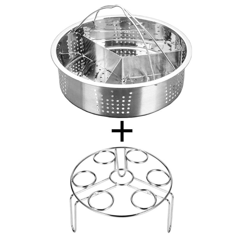 3pcs/set Stainless Steel Egg Steamer Basket Rack Divider Instant Pot Non-stick Pressure Cooker Accessories
