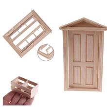 1 шт миниатюрная мебель в деревянной раме, наборы для кухонной комнаты, 1/12 масштаб, кукольный домик, дверь, окно