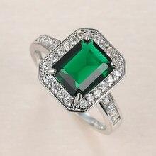 Anel de noivado de zircão quadrado da promessa da noiva anel de noivado da cor de prata do encanto do anel de pedra de cristal verde feminino do vintage