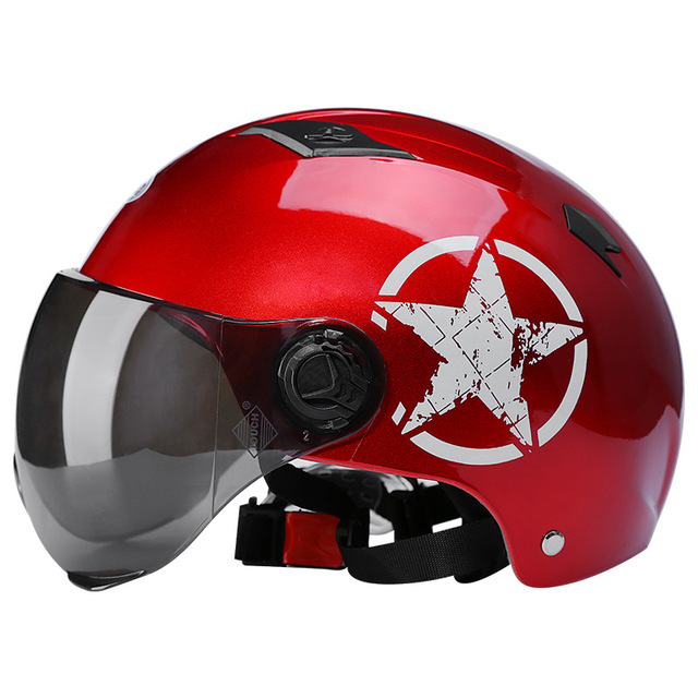 Motorcycle Helmets Half Helmet Scooter Motor Crash Helmet Bye Helmets for Moto Bike Sunshade Sun Protection Summer Unisex Abs 2