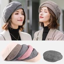Winter Beret Hats Walking-Cap Warm Woolen Female Girl Fashion Women Autumn Vintage Cotton