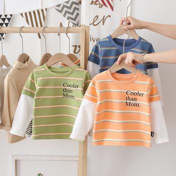 Koszulki dla chłopców odzież dziecięca jesień bawełna z długim rękawem chłopcy dziewczęta t-shirty Patchwork odzież dla chłopców koszulka sportowa na świeżym powietrzu tanie i dobre opinie KIWORLDS COTTON Moda REGULAR O-neck Topy Tees Pełna Pasuje prawda na wymiar weź swój normalny rozmiar Unisex Children Clothing KS372