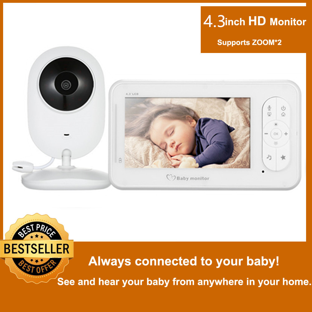 MBOSS 4.3 Inch Wireless Video Baby Monitor 2 Way Talk High Resolution Baby Nanny Security Camera VOX Mode Temperature Monitoring