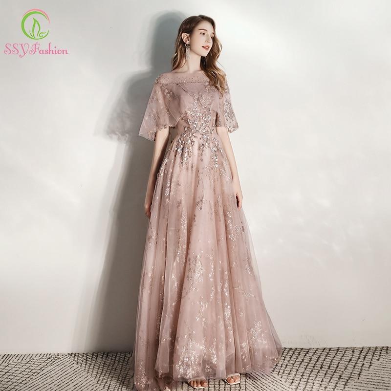 SSYFashion New Luxury Long Evening Dress Banquet Elegant Sequins Appliques Beading Prom Formal Gown Vestidos De Fiesta De Noche