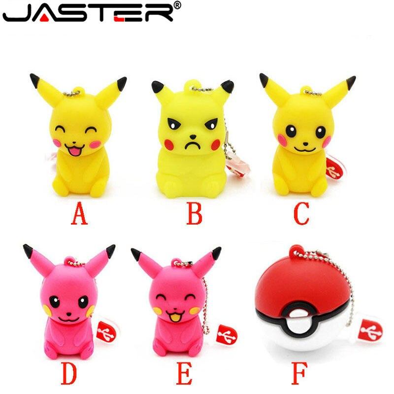 JASTER The New Cute Pikachu USB Flash Drive USB 2.0 Elf Ball Pen Drive Minions Memory Stick Pendrive 4GB 8GB 16GB 32GB 64GB Gift