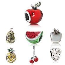Frutas encantos ajuste pandora pulseira diy cereja morango grânulo pulseira & colar melancia jóias abacaxi encantos para mulher