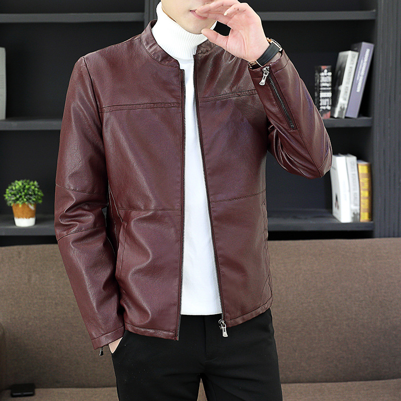 Spring, Autumn and Winter New Style PU Leather Korean style Trend Anti wrinkle Wear Youth Versatile Slim Fit Coat|Faux Leather Coats|   - AliExpress